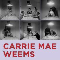 "Series of six black and white photographs with text ""Carrie Mae Weems"""