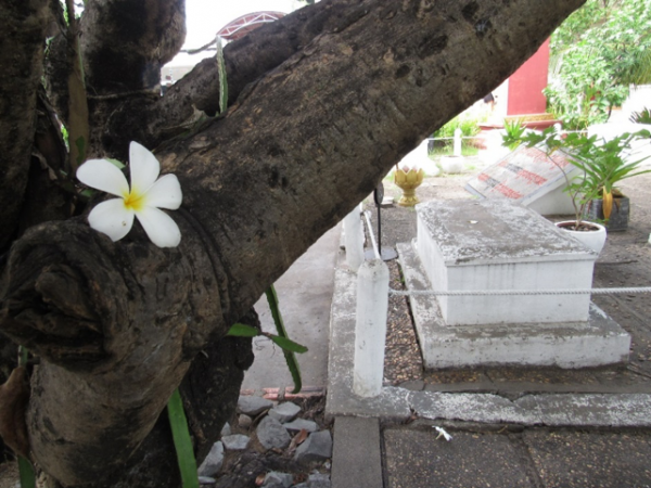 Fourteen unmarked graves rest in a garden outside of Tuol Sleng. They memorialize the victims who remain unknown.