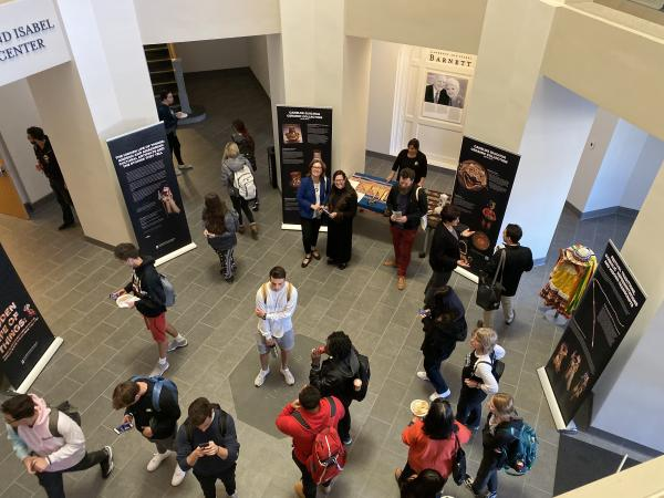 Photograph from above of event reception