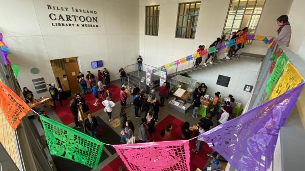 Photograph of post-procession event at Sullivant Hall
