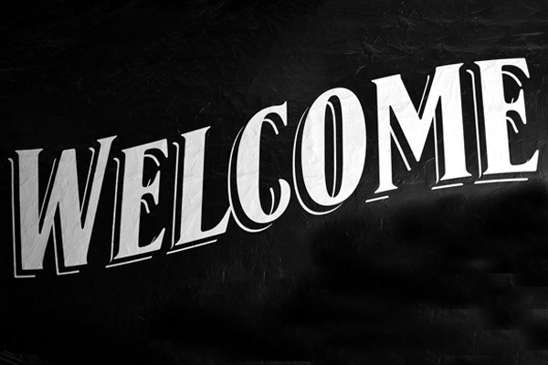 "Text spelling ""WELCOME"""