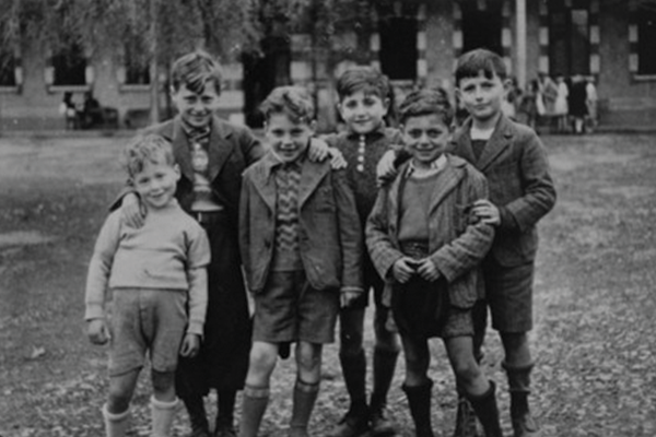 Black and white photograph Jewish refugee children