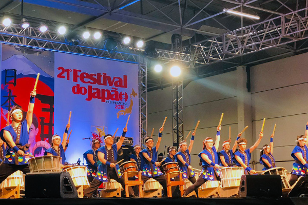Photograph of a drumming performance