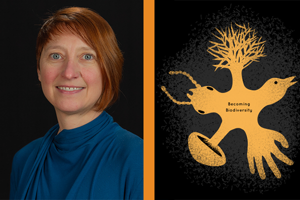 Photograph of Amy Youngs alongside an illustrated graphic with text: Becoming Biodiversity