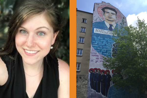 Photograph of author next to photograph of mural