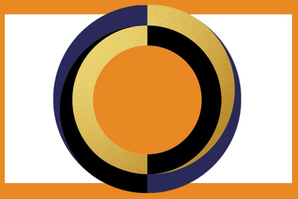 Circular graphic with orange rectangular border
