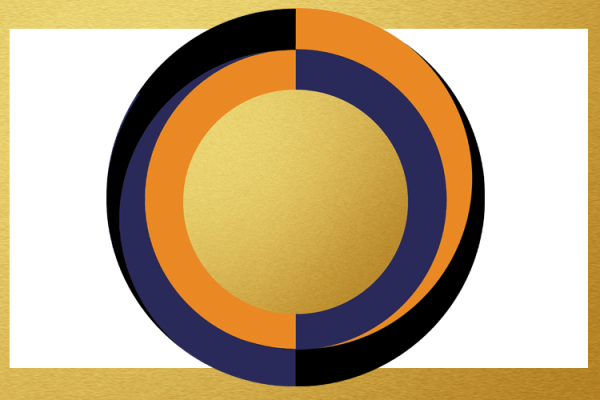 Circular illustration with gold rectangular frame